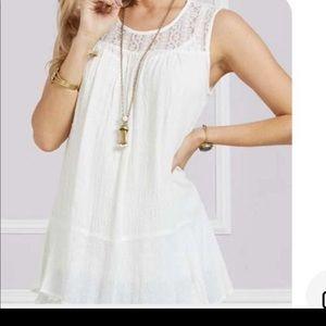 White Lace slightly Peplum Top size XL